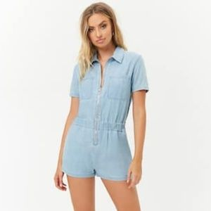 Forever 21 Jean Front Zip Shorts Romper Small